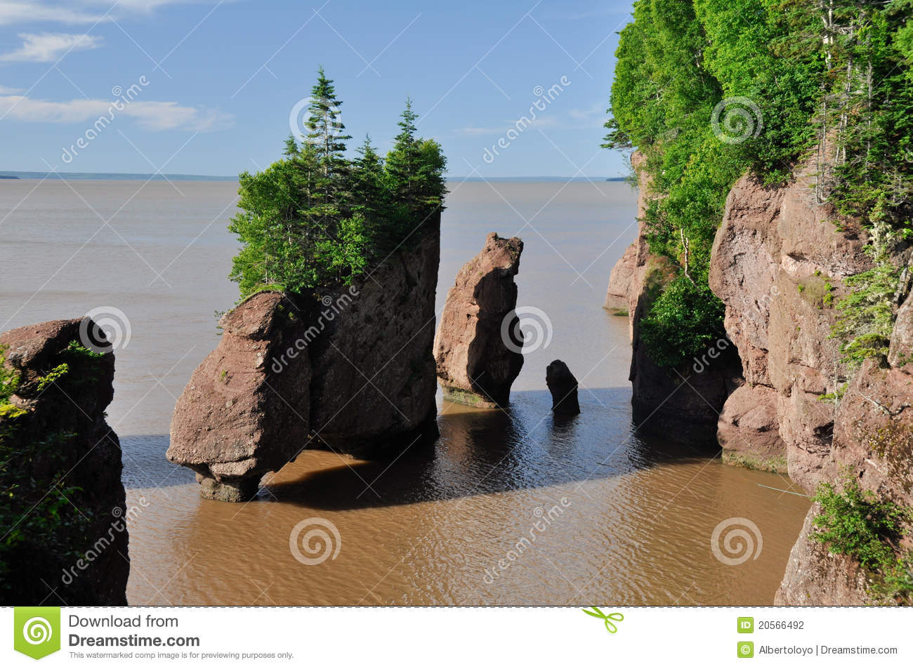 Hopewell Rocks At High Tide Stock Photography.