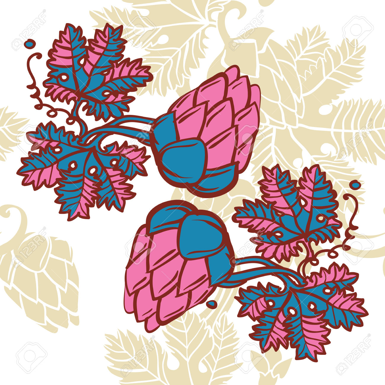 Hops Pattern With Hop Leaves And Fruits Royalty Free Cliparts.