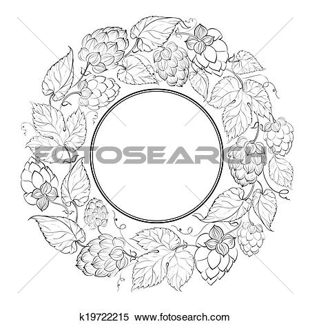 Stock Illustration of Black circle of fruit hops k19722215.