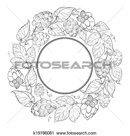Clipart of Black circle of fruit hops k19786081.