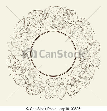 Vector Clipart of Monochrome circle of fruit hops csp19103605.