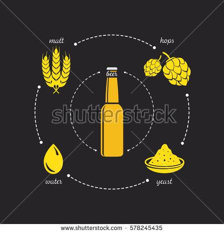 hops water malt yeast clipart #12