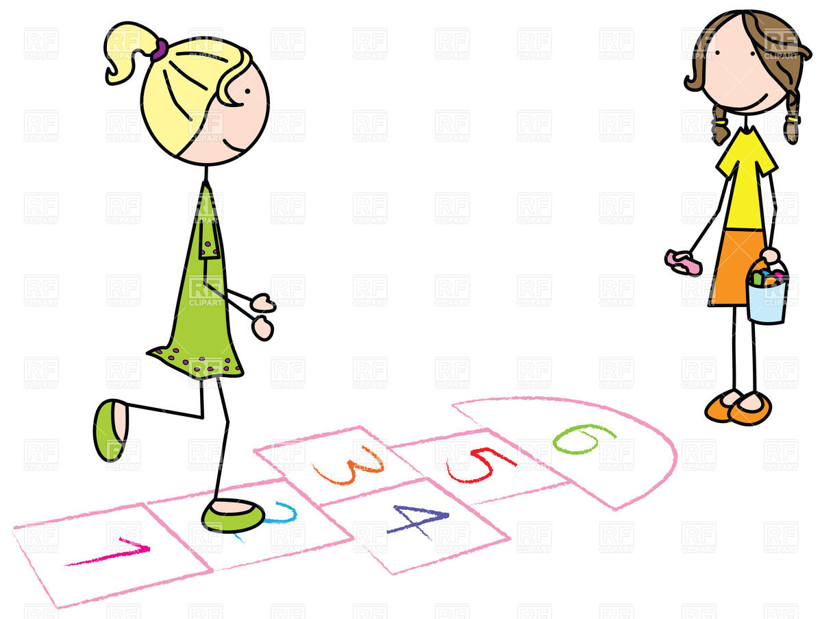 Kids playing hopscotch clipart.