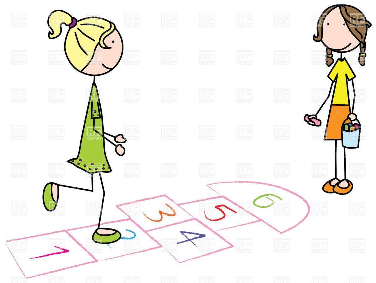Kids playing hopscotch clipart.