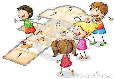Girl Hopscotch Stock Illustrations.