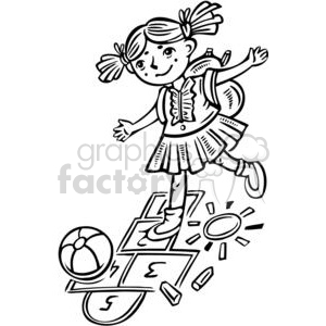girl playing hopscotch clipart. Royalty.