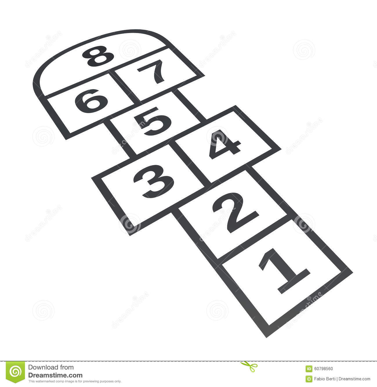 Hopscotch. Isolated On White Background Stock Illustration.