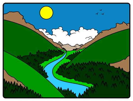 Colored drawing of a cartoon valley.