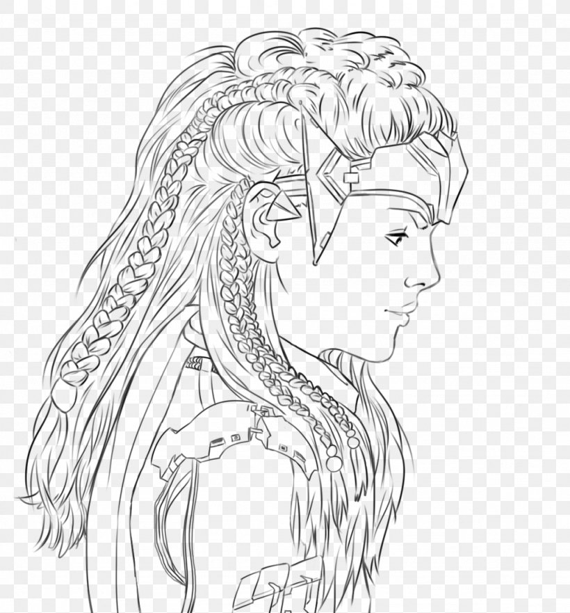 Horizon Zero Dawn Aloy Line Art Drawing Sketch, PNG.