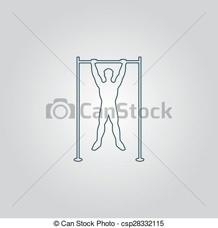 Vector Clip Art of Horizontal bar and man. Flat web icon, sign or.
