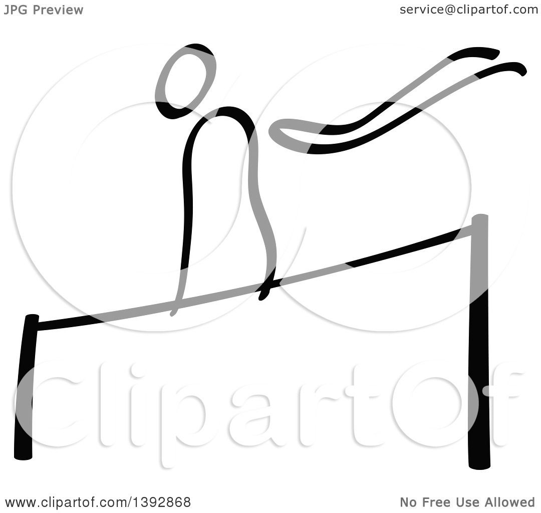 Clipart of a Black and White Olympic Gymnast Stick Man Athlete on.