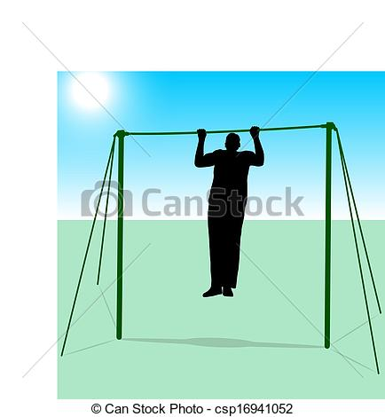 Clipart Vector of Silhouette of an athlete on the horizontal bar.