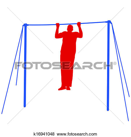 Clip Art of Silhouette of an athlete on the horizontal bar. Vector.