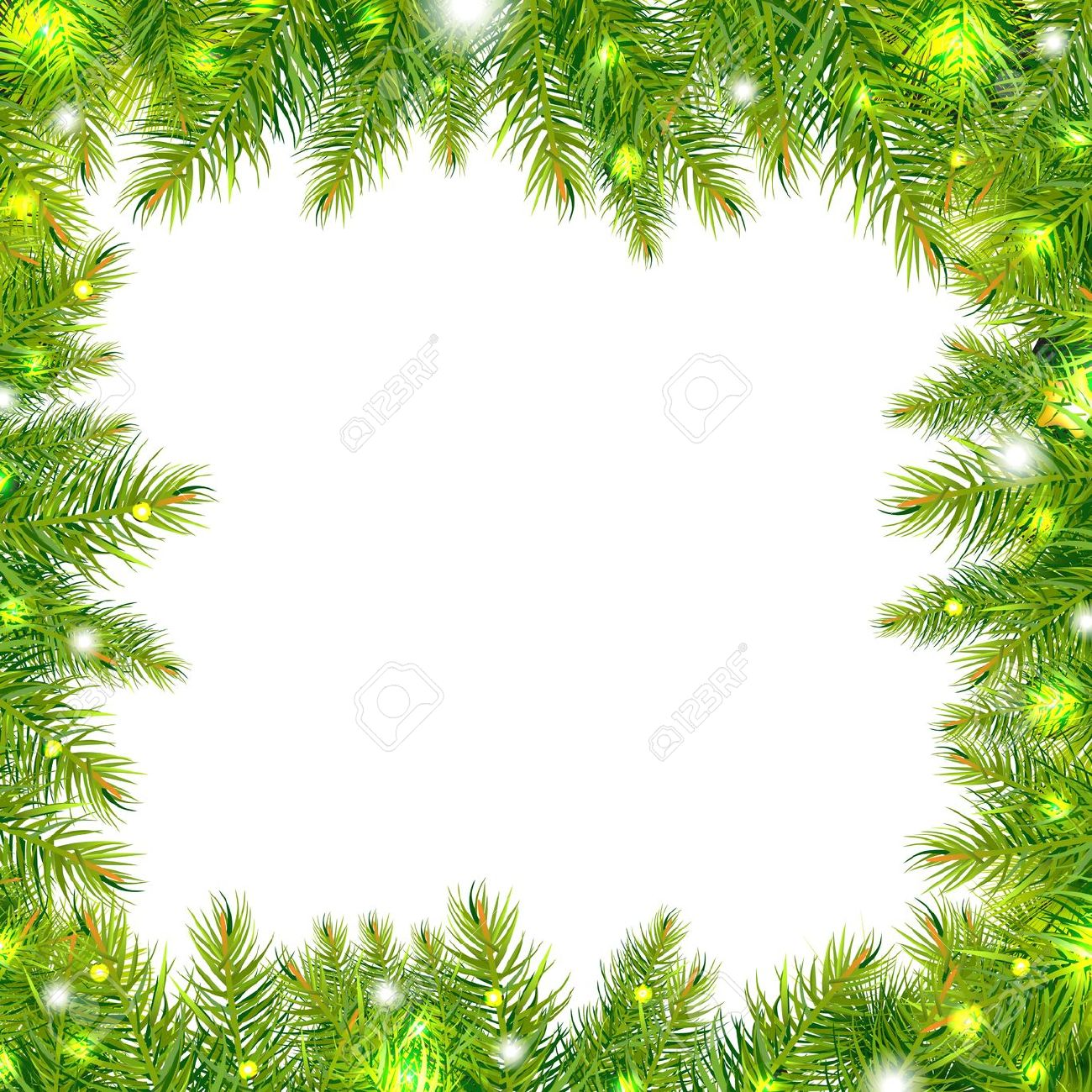 Horizontal Christmas Tree Border Clipart.