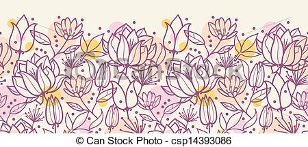 Vector of Purple line art flowers horizontal seamless pattern.