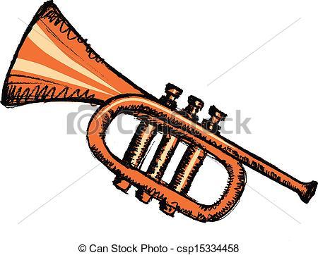 Clip Art Vector of horn, musical instrument.