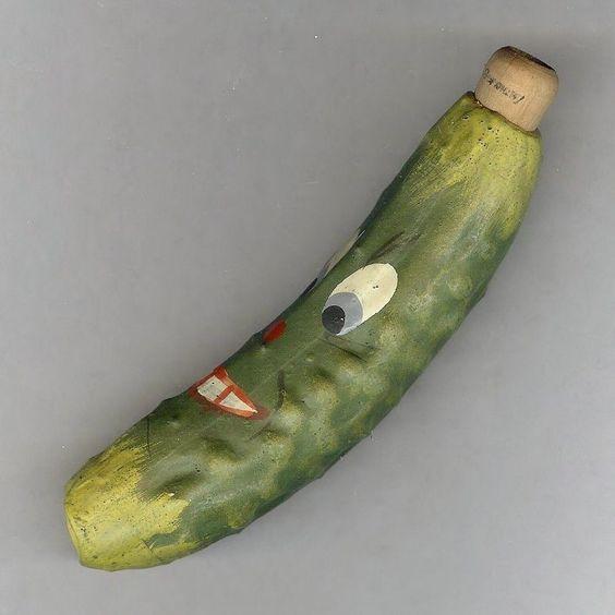 Vintage Halloween German Pickle / Cucumber Horn noisemaker.
