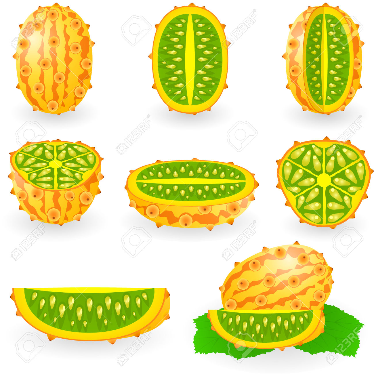 Illustration Of Kiwano Also Known As African Horned Melon Or.