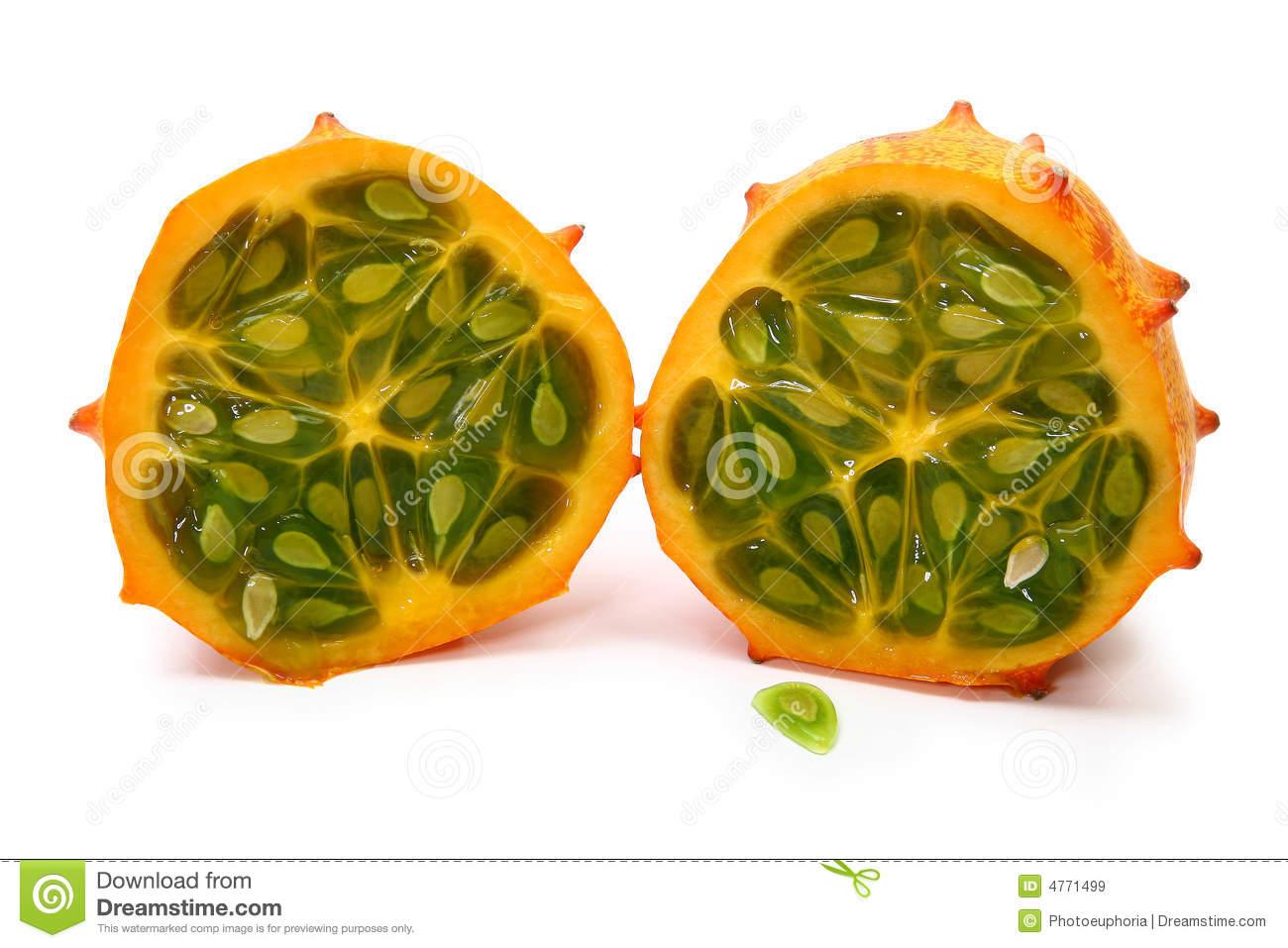 Horned Melon Fruit Stock Photo.