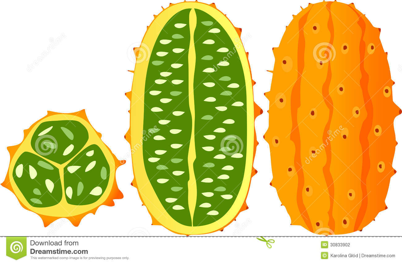 Horned Melon, Kiwano, African Horned Cucumber Stock Photography.
