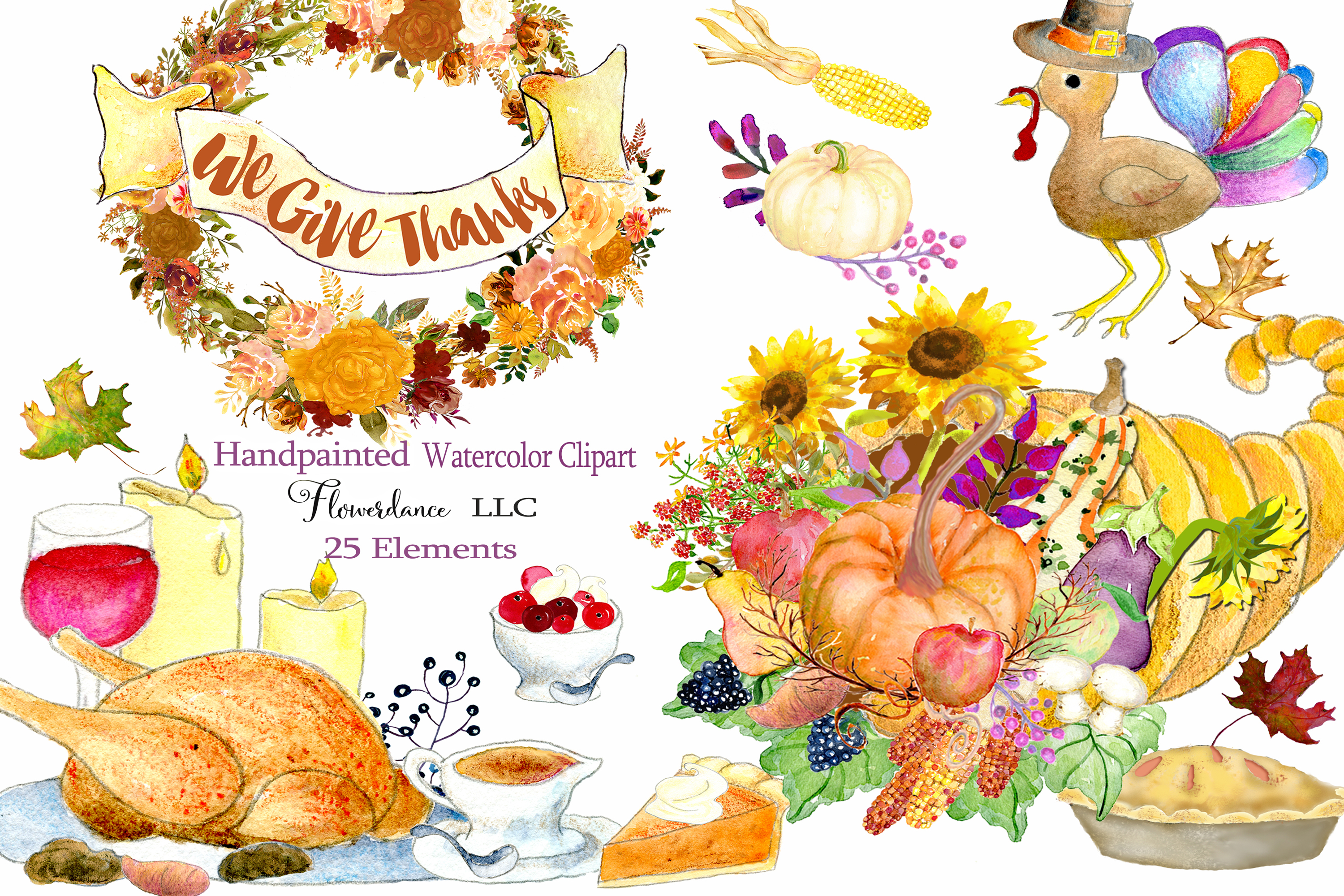 Watercolor Thanksgiving Clipart.