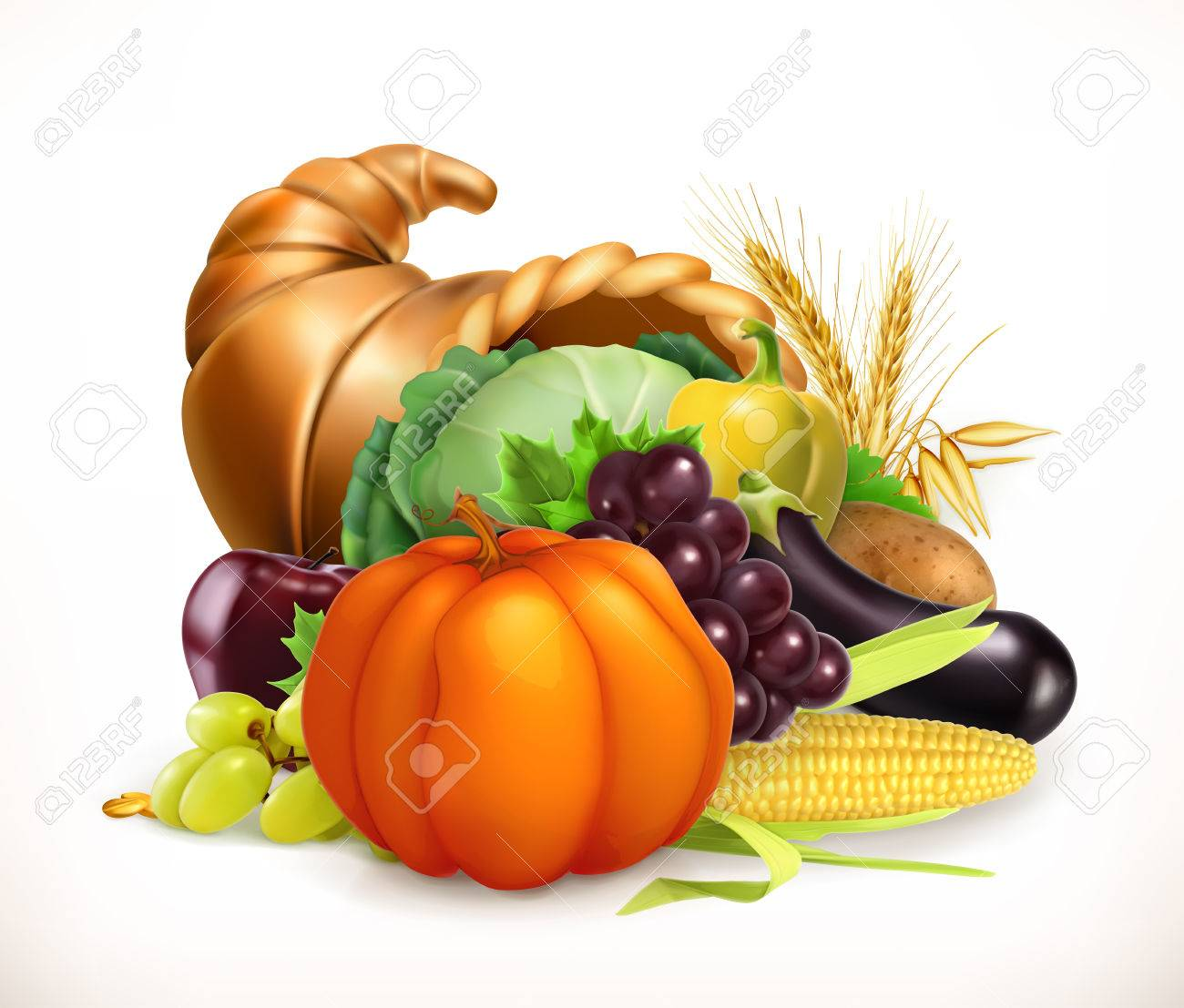 Horn of plenty. Harvest fruits and vegetables. Cornucopia. 3d...