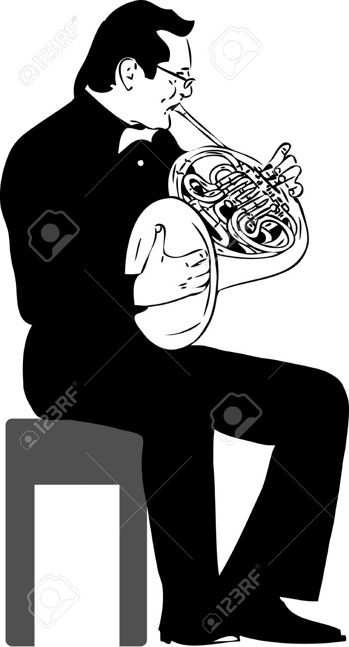 A Black And White Picture French Horn Royalty Free Cliparts.