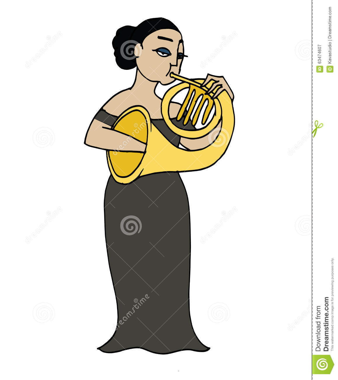 Cartoon French Hornist. Musician Playing A French Horn. Stock.