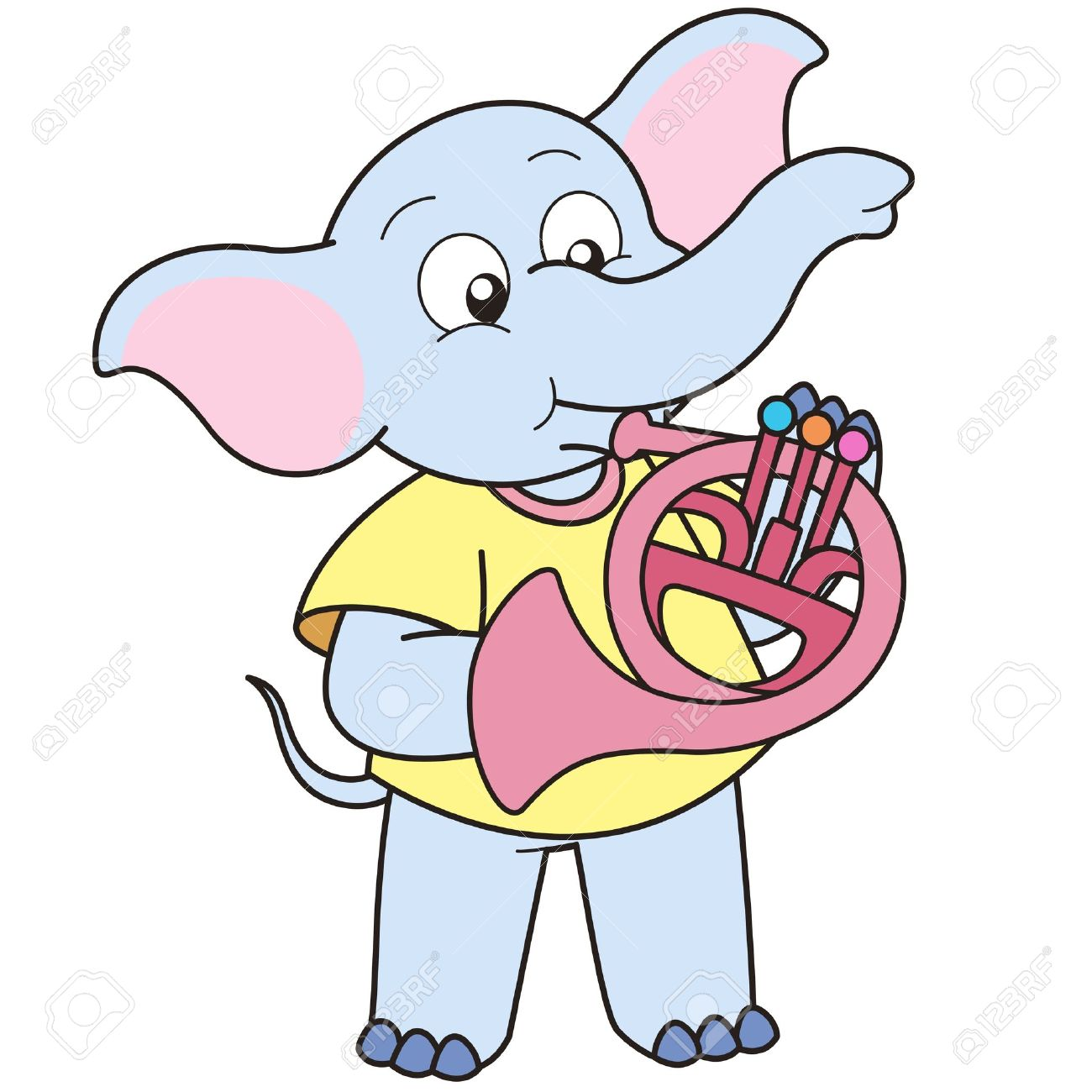 Cartoon Elephant Playing A French Horn. Royalty Free Cliparts.