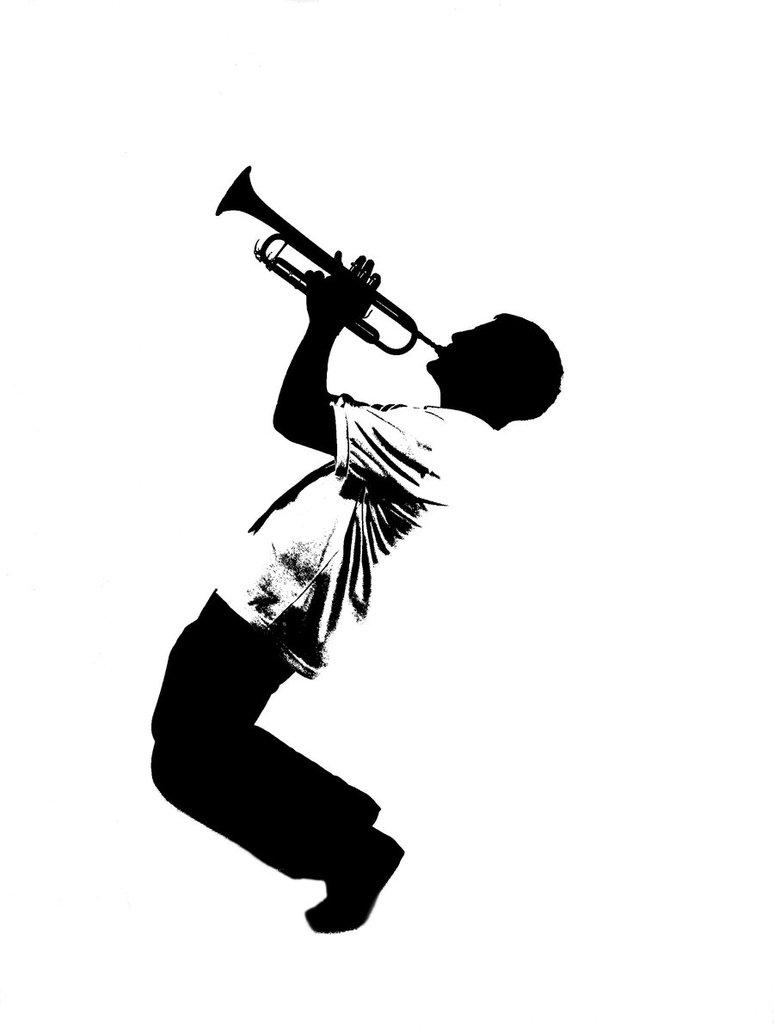 Trumpet Silhouette Clipart.