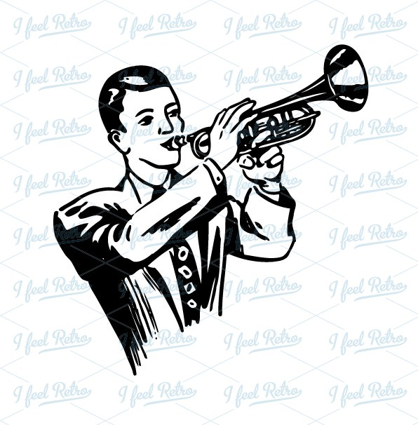 Trumpet Player Clipart.