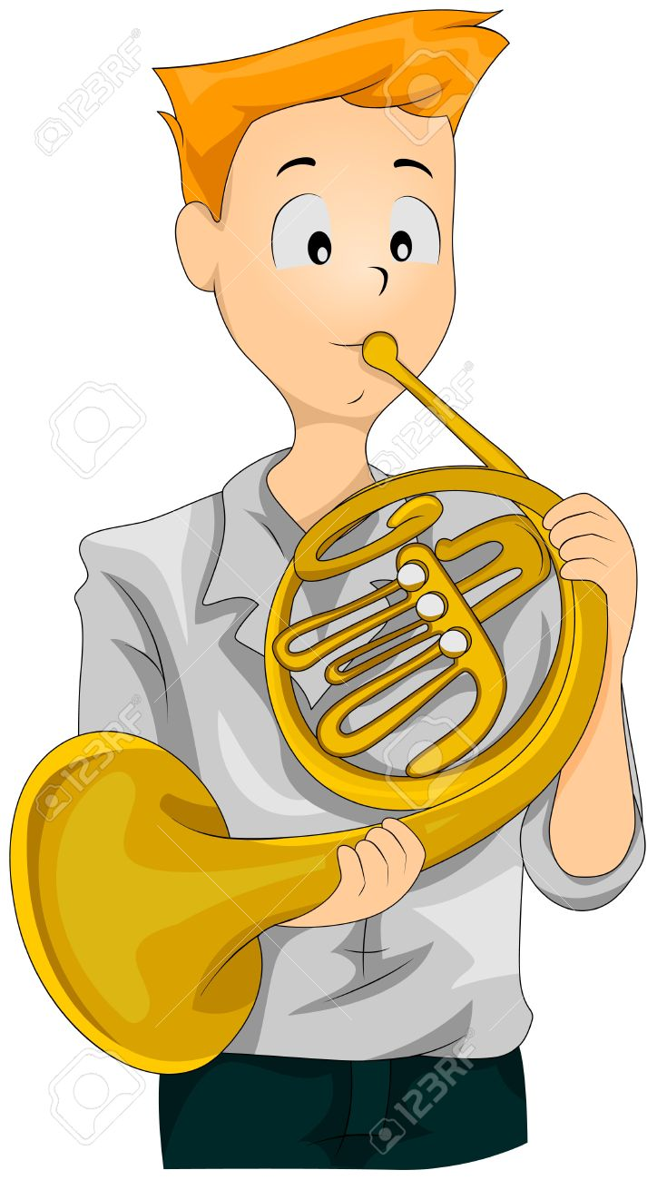 Illustration Of A Teenage Boy Playing The French Horn Stock Photo.