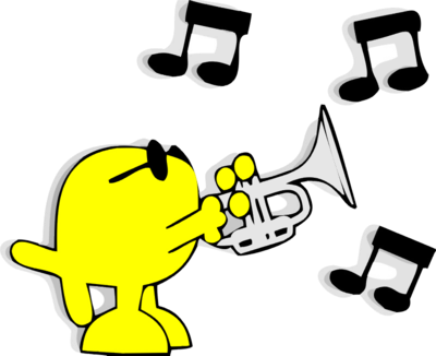 Animal playing trumpet clipart.