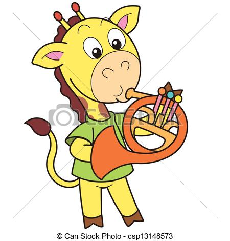 Vectors Illustration of Cartoon Giraffe Playing a French Horn.