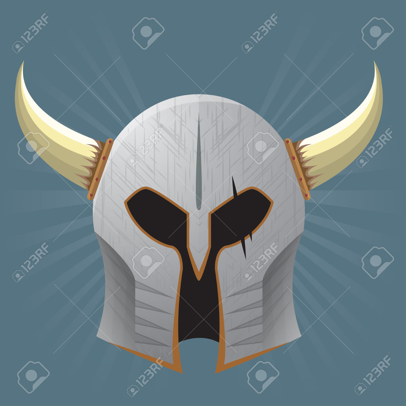 Silver Warrior Helmet With Horns And Scars Royalty Free Cliparts.