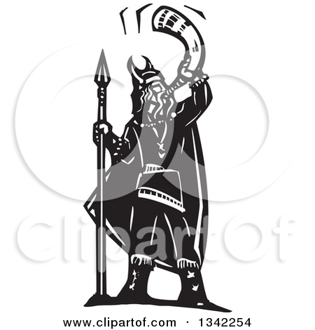 Clipart of a Black and White Woodcut Viking Warrior Standing with.