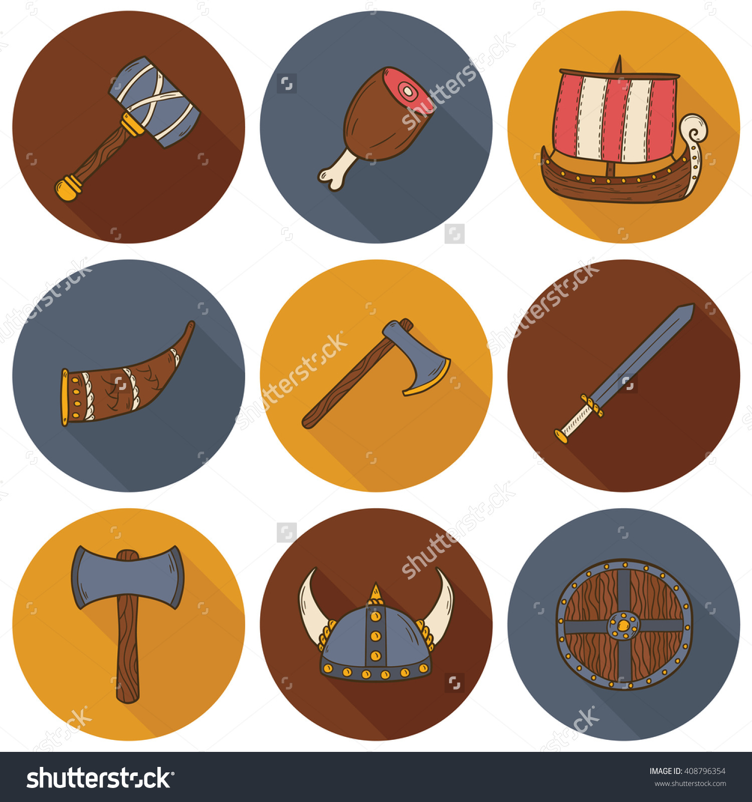 Illustration Cartoon Hand Drawn Viking Icons Stock Illustration.