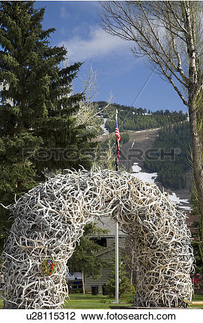 Stock Photo of USA, Wyoming, Jackson Hole. An elk horn arch at.