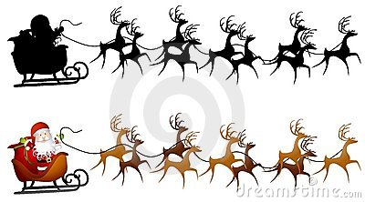 Santa's Sleigh Silhouette Stock Photos, Images, & Pictures.