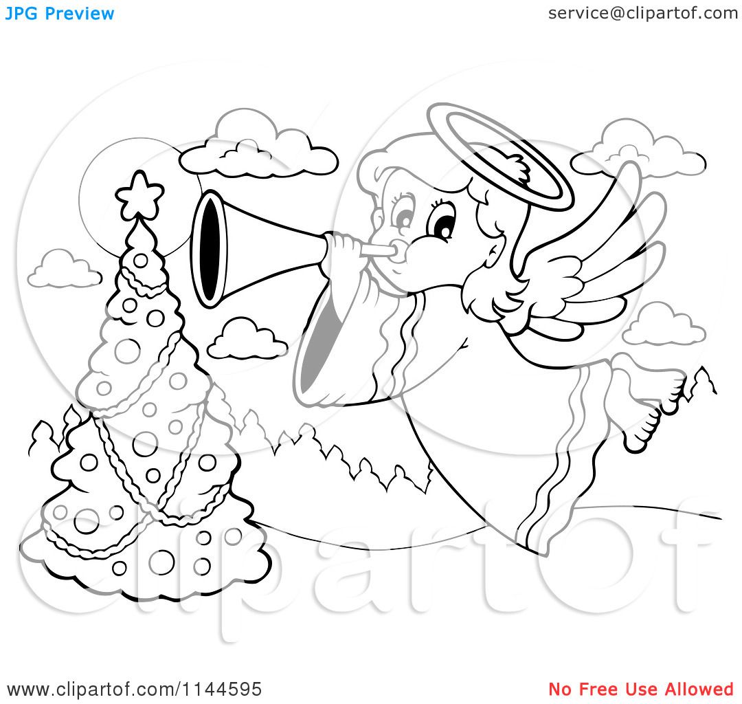 Cartoon of a Black and White Christmas Angel Bowing a Horn over a.