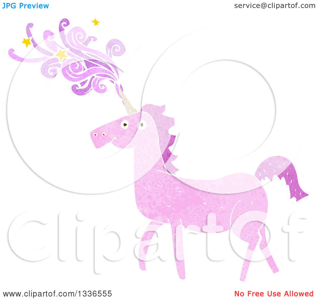 Clipart of a Textured Pink Unicorn with Magic Flowing from the.