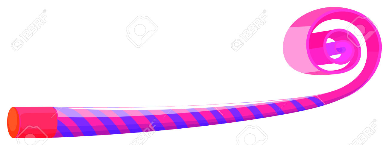 Party Horn In Blue And Pink Striped Illustration Royalty Free.