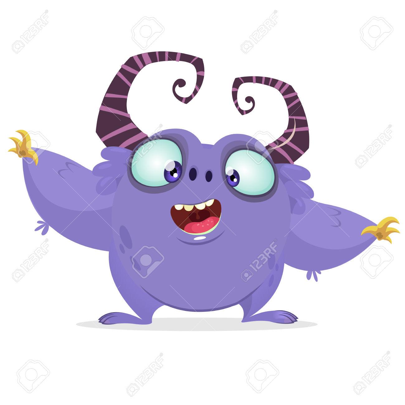 Vector Cartoon Purple Monster With Big Horns. Halloween Furry.