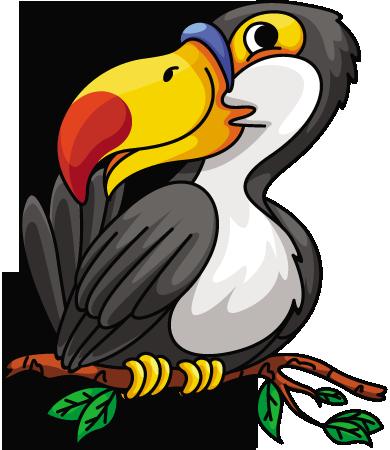 Cartoon hornbill Bird on Branch.