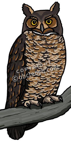 Great Horned Owl Clip Art.