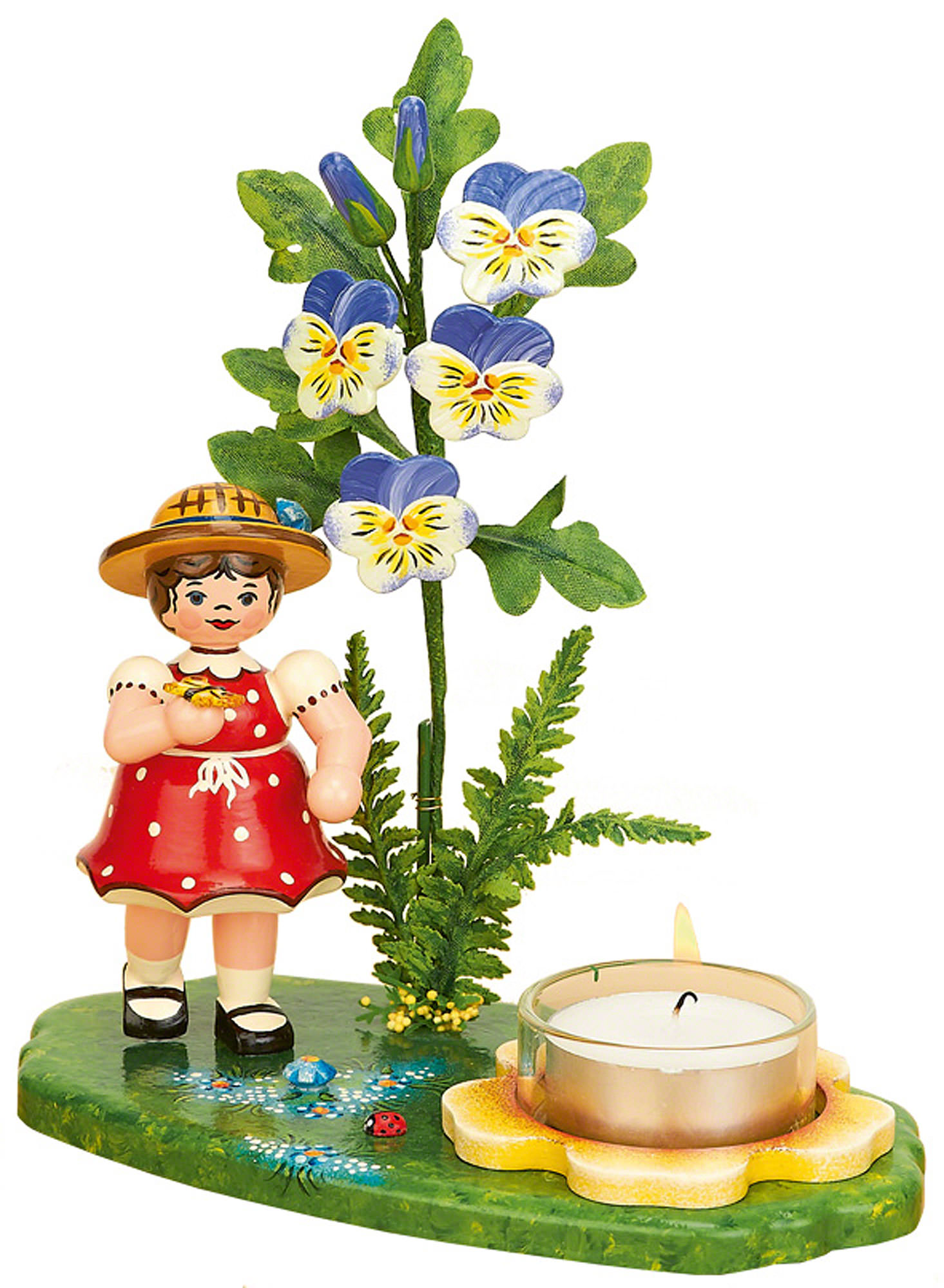 Tea light holder girl with horned violet (15x17cm/6x7in)ch by.