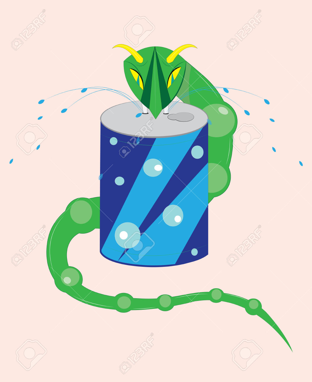 The Horned Viper Drinks Water Royalty Free Cliparts, Vectors, And.