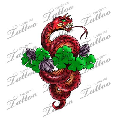 Marketplace Tattoo Horned Viper with Clover #8624.