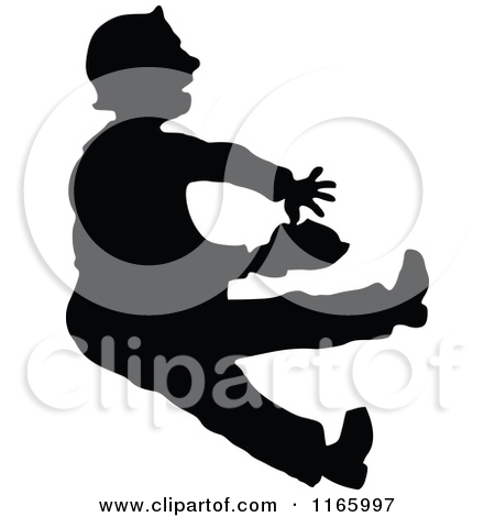 Clipart of Retro Vintage Black and White Jack and Jill Falling.