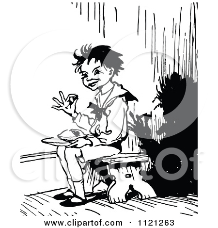 Clipart Of A Retro Vintage Black And White Jack Horner Sitting In.